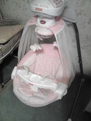 pink baby cradle swing